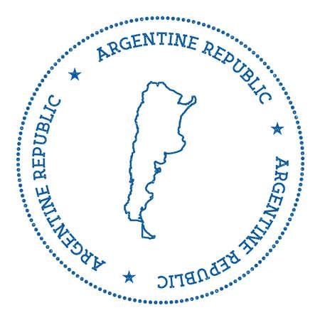 Argentinië vector kaart sticker. Hipster en retro-stijl badge met kaart van Argentinië. Minimalistische insignes met ronde stippenrand. Land kaart vectorillustratie.