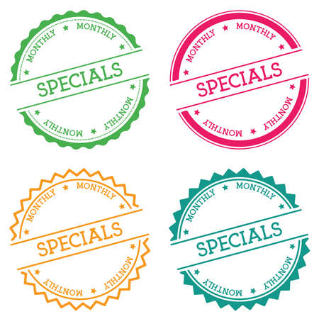 Specials monthly badge isolated on white background. Flat style round label with text. Circular emblem vector illustration. Illustration