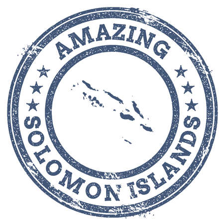 Vintage Amazing Solomon Islands travel stamp with map outline. Solomon Islands travel grunge round sticker.