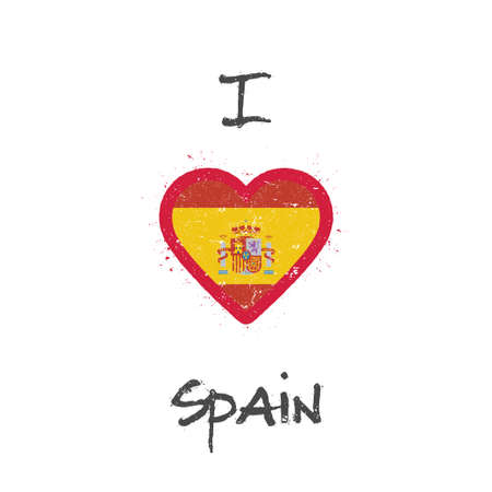 I love Spain t-shirt design. Spanish flag in the shape of heart on white background. Grunge vector illustration.