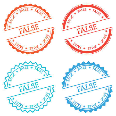 FALSE badge isolated on white background. Flat style round label with text. Circular emblem vector illustration. Illustration