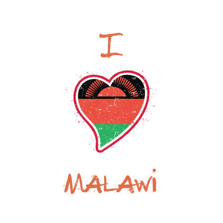 Malawian flag patriotic t-shirt design. Heart shaped national flag Malawi on white background. Vector illustration. Illustration