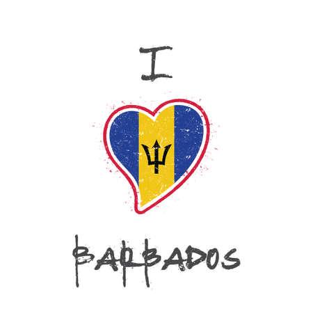 Barbadian flag patriotic t-shirt design. Heart shaped national flag Barbados on white background. Vector illustration.