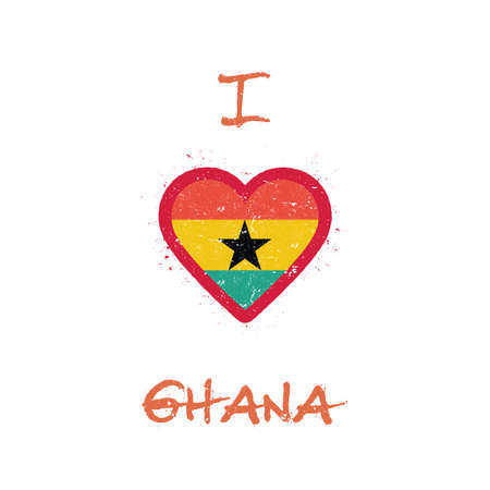 I love Ghana t-shirt design. Ghanaian flag in the shape of heart on white background. Grunge vector illustration.
