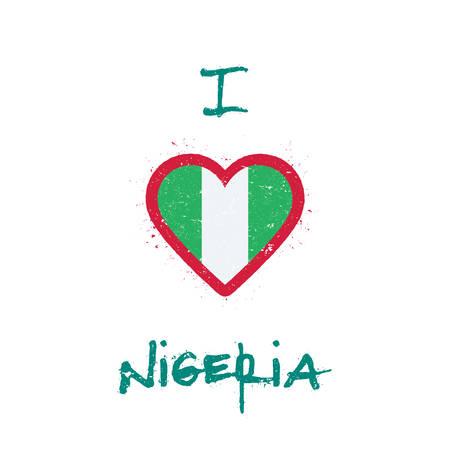 I love Nigeria t-shirt design. Nigerian flag in the shape of heart on white background. Grunge vector illustration. Illustration