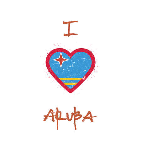 I love Aruba t-shirt design. Aruban flag in the shape of heart on white background. Grunge vector illustration.