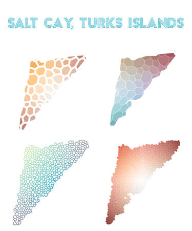 Salt Cay, Turks Islands polygonal island map. Mosaic style maps collection. Bright abstract tessellation, geometric, low poly, modern design.