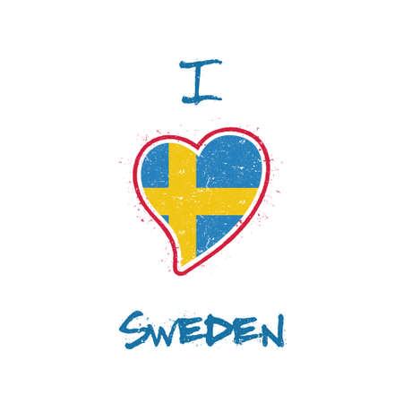 Swedish flag patriotic t-shirt design. Heart shaped national flag Sweden on white background. Vector illustration.