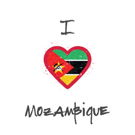 I love Mozambique t-shirt design. Mozambican flag in the shape of heart on white background. Grunge vector illustration.