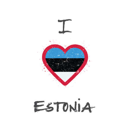 I love Estonia t-shirt design. Estonian flag in the shape of heart on white background. Grunge vector illustration.