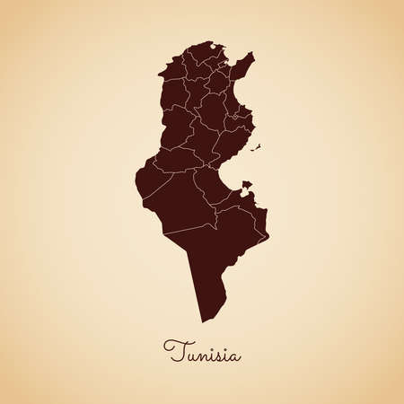 Tunisia region map: retro style brown outline on old paper background. Detailed map of Tunisia regions. Vector illustration. Illustration