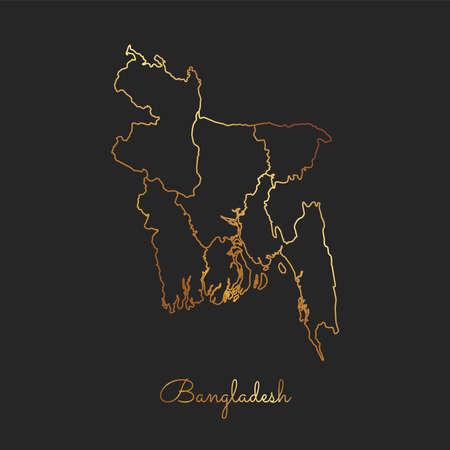 Bangladesh region map: golden gradient outline on dark background. Detailed map of Bangladesh regions. Vector illustration.