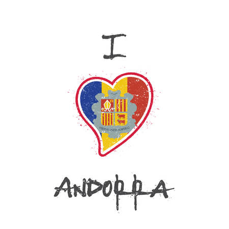 Andorran flag patriotic t-shirt design. Heart shaped national flag Andorra on white background. Vector illustration. Illustration