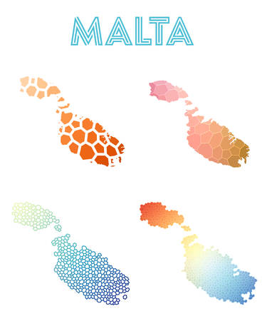 Malta polygonal island map. Mosaic style maps collection. Bright abstract tessellation, geometric, low poly, modern design. Malta polygonal maps for infographics or presentation.