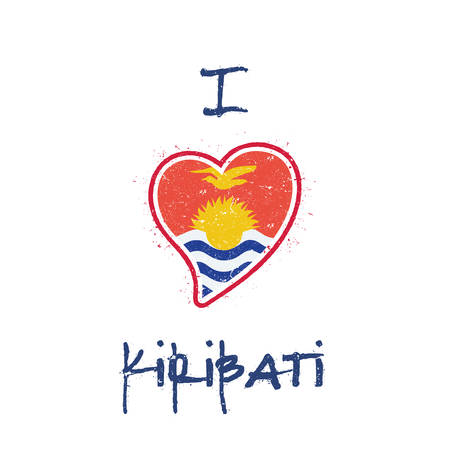 I-Kiribati flag patriotic t-shirt design. Heart shaped national flag Kiribati on white background. Vector illustration. Çizim
