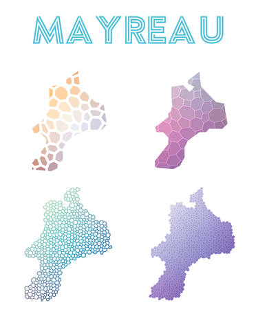 Mayreau polygonal island map. Mosaic style maps collection. Bright abstract tessellation, geometric, low poly, modern design. Mayreau polygonal maps for info graphics or presentation. Illustration