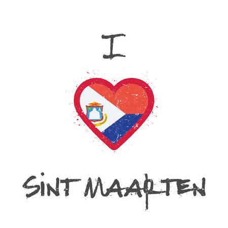 I love Sint Maarten t-shirt design. Dutch flag in the shape of heart on white background. Grunge vector illustration.