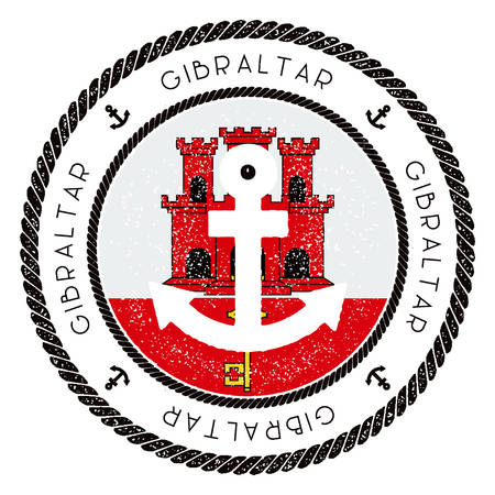Nautical Travel Stamp with Gibraltar Flag and Anchor. Marine rubber stamp, with round rope border and anchor symbol on flag background. Vector illustration. Illustration