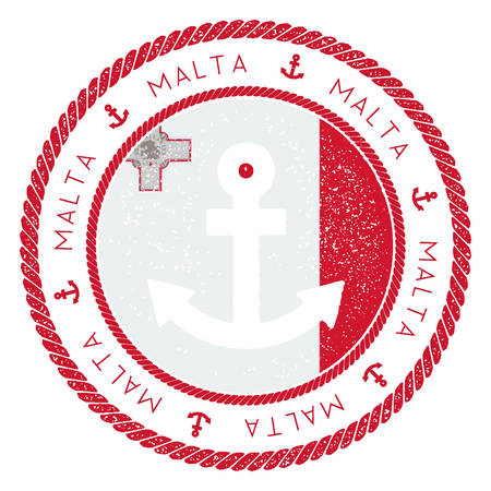 Nautical Travel Stamp with Malta Flag and Anchor. Marine rubber stamp, with round rope border and anchor symbol on flag background. Vector illustration.