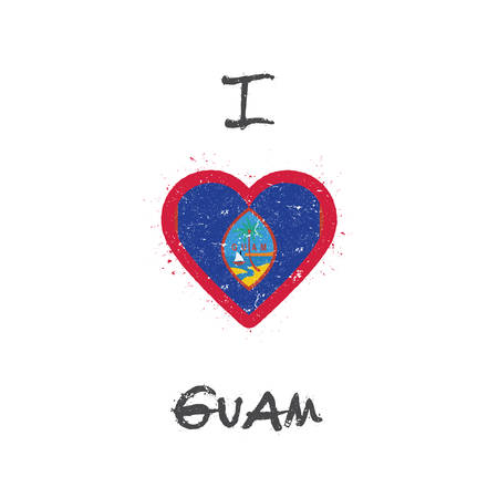 I love Guam t-shirt design. Guamanian flag in the shape of heart on white background. Grunge vector illustration. Çizim