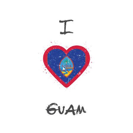 I love Guam t-shirt design. Guamanian flag in the shape of heart on white background. Grunge vector illustration. Illustration