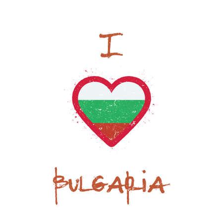 I love Bulgaria t-shirt design. Bulgarian flag in the shape of heart on white background. Grunge vector illustration. Çizim