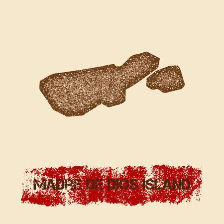 Madre de Dios eiland noodlijdende kaart. Grunge patriottische affiche met het geweven zegel van de eilandinkt en het teken van de rolverf, vectorillustratie.