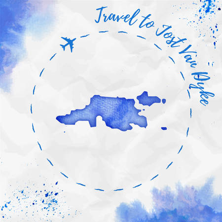 Jost Van Dyke watercolor island map in blue colors. Travel to Jost Van Dyke poster with airplane trace and handpainted watercolor Jost Van Dyke map on crumpled paper. Vector illustration.