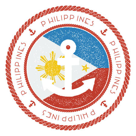 Nautical Travel Stamp with Philippines Flag and Anchor. Marine rubber stamp, with round rope border and anchor symbol on flag background. Vector illustration.