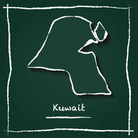 Kuwait outline vector map hand drawn with chalk on a green blackboard. Chalkboard scribble in childish style. White chalk texture on green background.