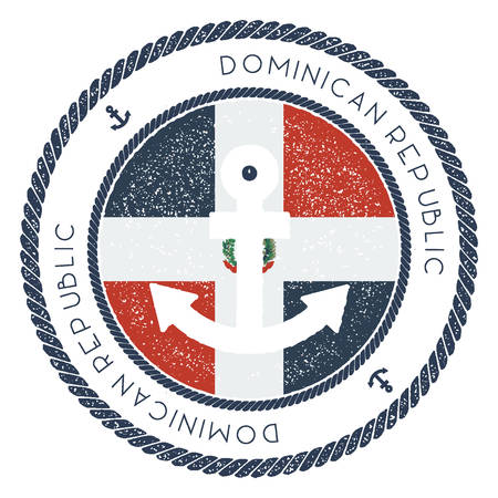 Nautical Travel Stamp with Dominican Republic Flag and Anchor. Marine rubber stamp, with round rope border and anchor symbol on flag background. Vector illustration.