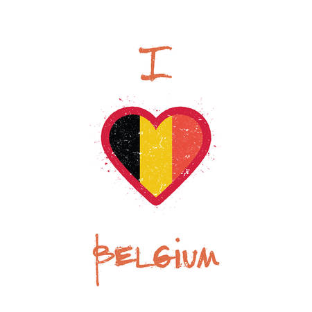 I love Belgium t-shirt design. Belgian flag in the shape of heart on white background. Grunge vector illustration.