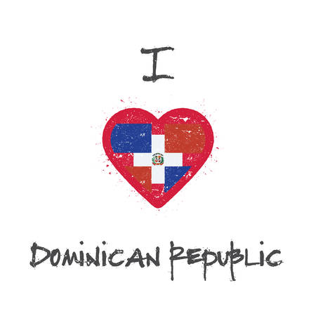 I love Dominican Republic t-shirt design. Dominican flag in the shape of heart on white background. Grunge vector illustration. Çizim