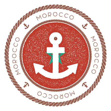Nautical Travel Stamp with Morocco Flag and Anchor. Marine rubber stamp, with round rope border and anchor symbol on flag background. Vector illustration.
