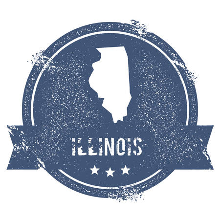 Illinois mark. Travel rubber stamp with the name and map of Illinois, vector illustration. Can be used as insignia, logotype, label, sticker or badge of USA state. Illustration