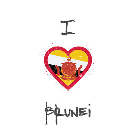 I love Brunei Darussalam t-shirt design. Bruneian flag in the shape of heart on white background. Grunge vector illustration. Çizim