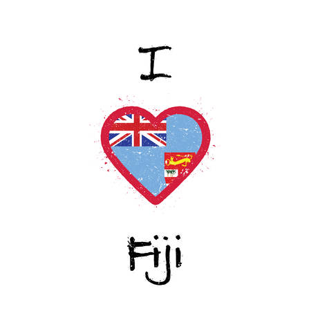 I love Fiji t-shirt design. Fijian flag in the shape of heart on white background. Grunge vector illustration.