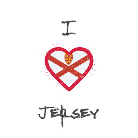 I love Jersey t-shirt design. Channel Islander flag in the shape of heart on white background. Grunge vector illustration.