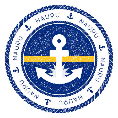 Nautical Travel Stamp with Nauru Flag and Anchor. Marine rubber stamp, with round rope border and anchor symbol on flag background. Vector illustration. Illustration