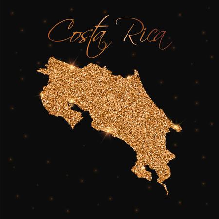 金色の輝きで満たされたコスタリカの地図。●豪華なデザイン要素、ベクトルイラスト。