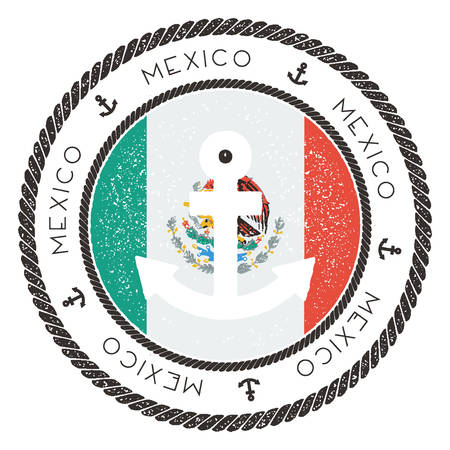 Nautical Travel Stamp with Mexico Flag and Anchor. Marine rubber stamp, with round rope border and anchor symbol on flag background. Vector illustration.