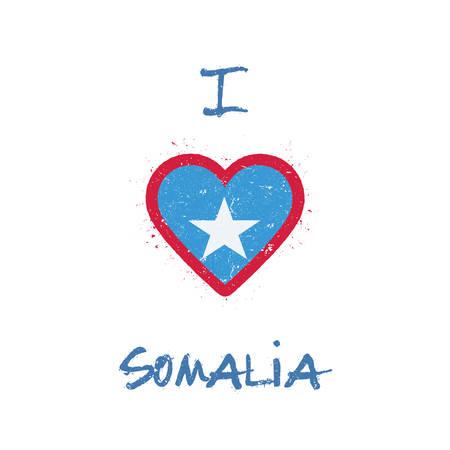 I love Somalia t-shirt design. Somali flag in the shape of heart on white background. Grunge vector illustration. Illustration