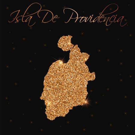 Isla de Providencia map filled with golden glitter. Luxurious design element, vector illustration. Illusztráció