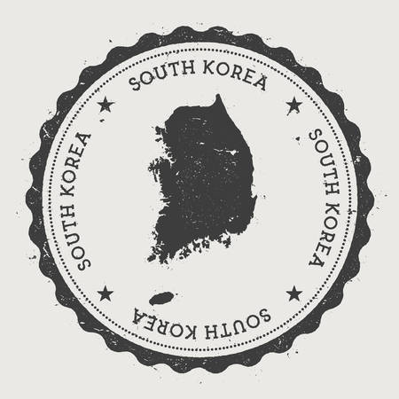 Korea, Republic of hipster round rubber stamp with country map. Vintage passport stamp with circular text and stars, vector illustration.