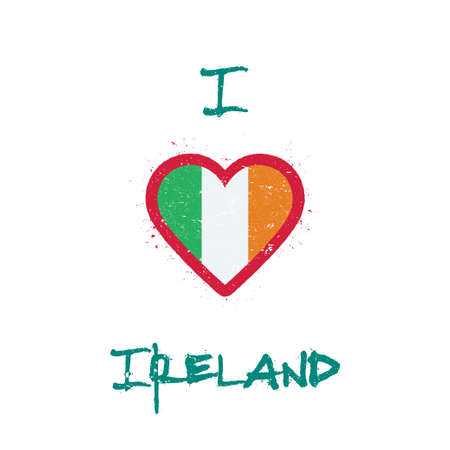 I love Ireland t-shirt design. Irish flag in the shape of heart on white background. Grunge vector illustration. Çizim