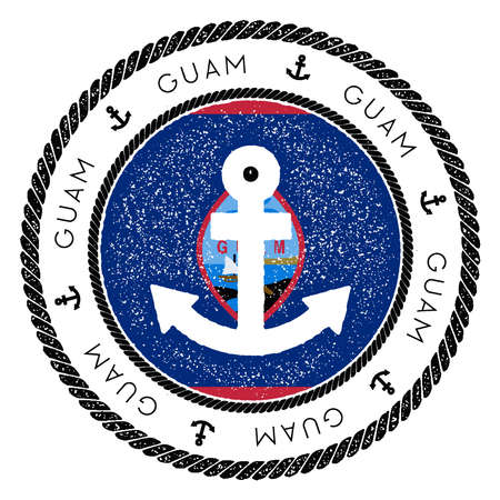 Nautical Travel Stamp with Guam Flag and Anchor. Marine rubber stamp, with round rope border and anchor symbol on flag background. Vector illustration. Ilustrace