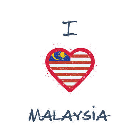 I love Malaysia t-shirt design. Malaysian flag in the shape of heart on white background. Grunge vector illustration.