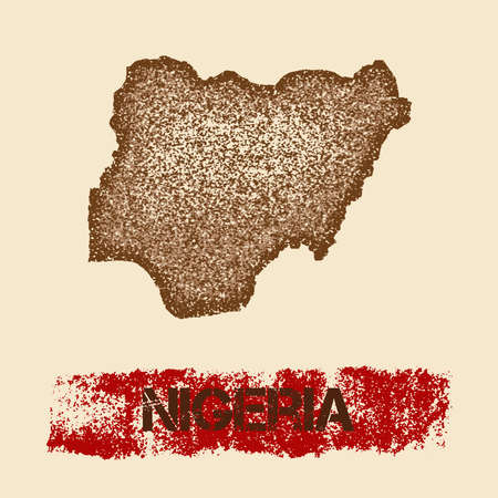 Nigeria distressed map. Grunge patriotic poster with textured country ink stamp and roller paint mark, vector illustration. Illustration