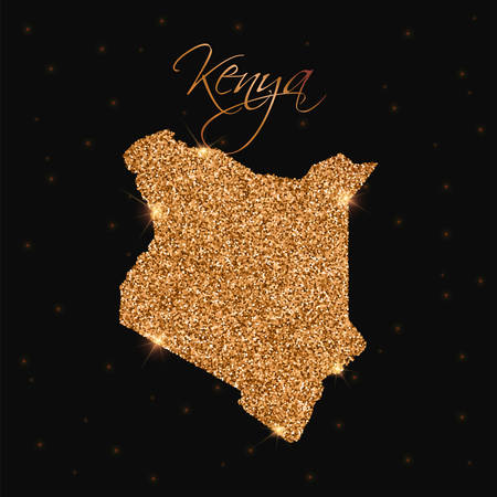 Kenya map filled with golden glitter. Luxurious design element, vector illustration.