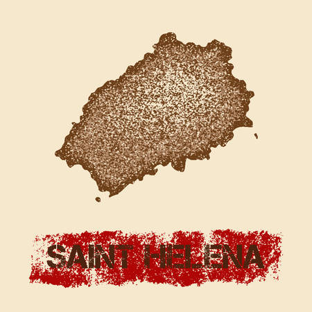 Saint Helena distressed map. Grunge patriotic poster with textured island ink stamp and roller paint mark, vector illustration.